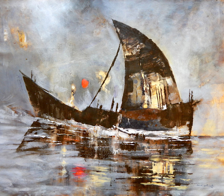 Journey of ship of dreams: asian  by Indian Art Ideas,Asian