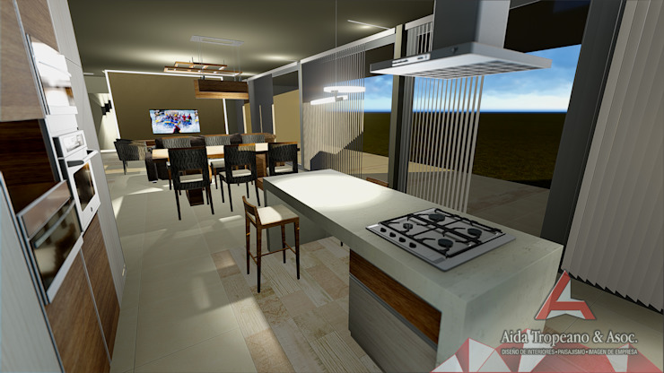 Aida tropeano& Asociados Вбудовані кухні Інженерне дерево Білий