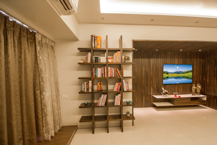 Library Modern living room by A Design Studio Modern Plywood