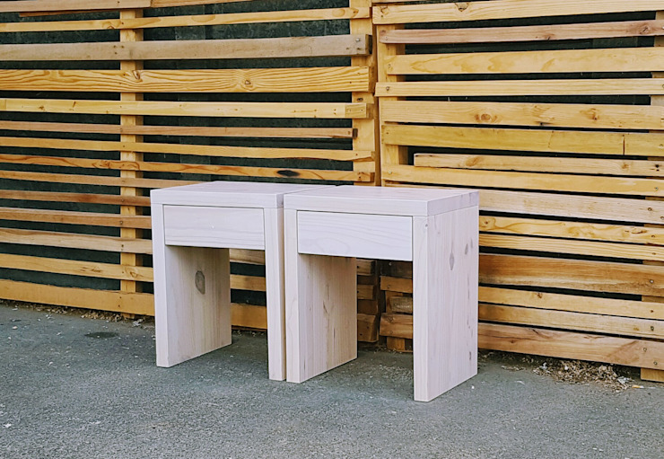 Chunky Side Tables with Drawer Eco Furniture Design 臥室床頭櫃 木頭