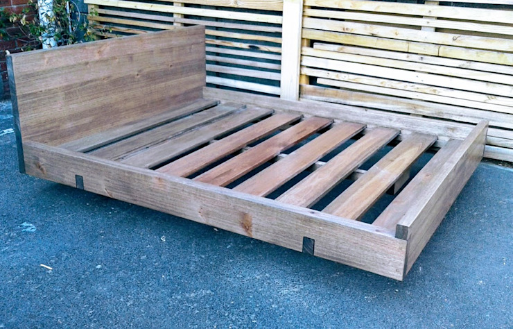 Floating Queen Size Bed with Headboard by Eco Furniture Design Wood Wood effect