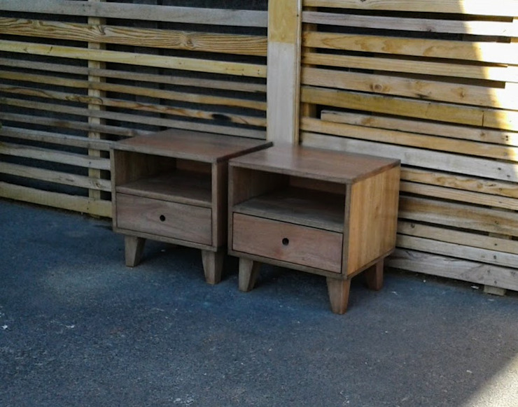 Hendrix Side Table with Drawer and Tapered Legs by Eco Furniture Design Wood Wood effect