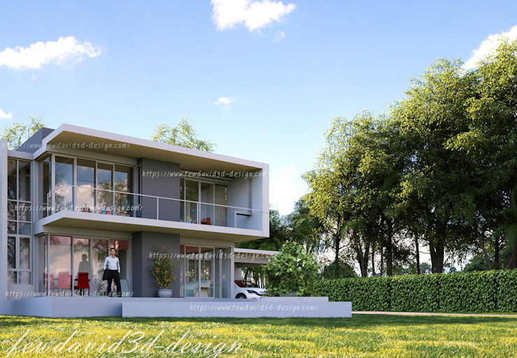 บ้านพักอาศัย 2ชั้น อ.หัวหิน จ.ประจวบคีรีขันธ์ โดย fewdavid3d-design โมเดิร์น