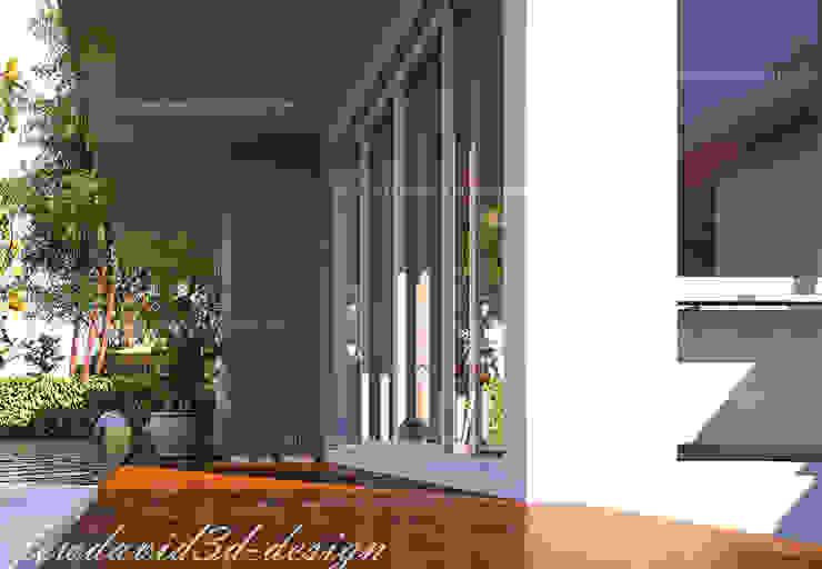 บ้านพักอาศัย 2ชั้น อ.หัวหิน จ.ประจวบคีรีขันธ์ ห้องโถงทางเดินและบันไดสมัยใหม่ โดย fewdavid3d-design โมเดิร์น