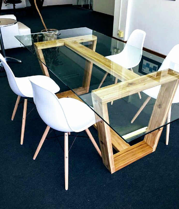 Hayley 10 Seater Dining Table with Glass Top by Eco Furniture Design Glass