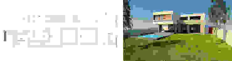 Fachada + Render Proyecto casa BL piedra roja - Chicureo. de MJO ArqDesign Moderno