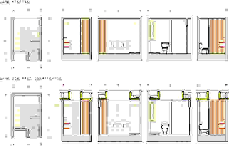 Detalle Baños Proyecto casa BL piedra roja - Chicureo. de MJO ArqDesign Moderno