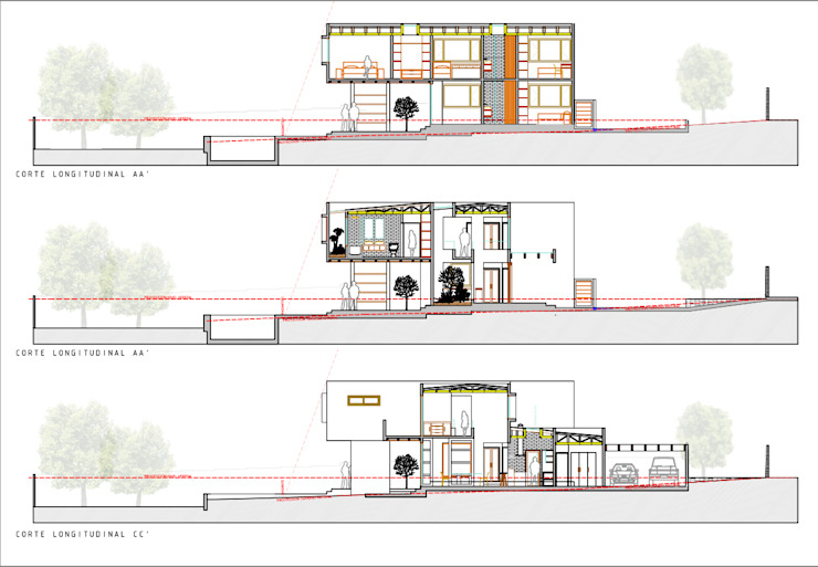 Cortes longitudinales. Proyecto casa BL piedra roja - Chicureo. de MJO ArqDesign Moderno