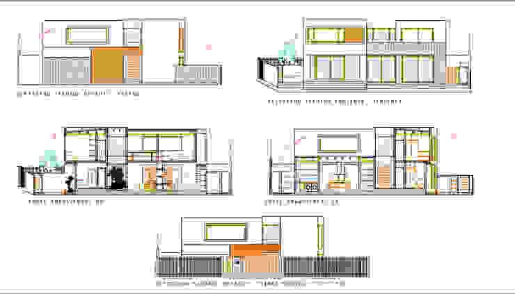 Elevaciones Fachadas y Cortes. Proyecto casa BL piedra roja - Chicureo. de MJO ArqDesign Moderno