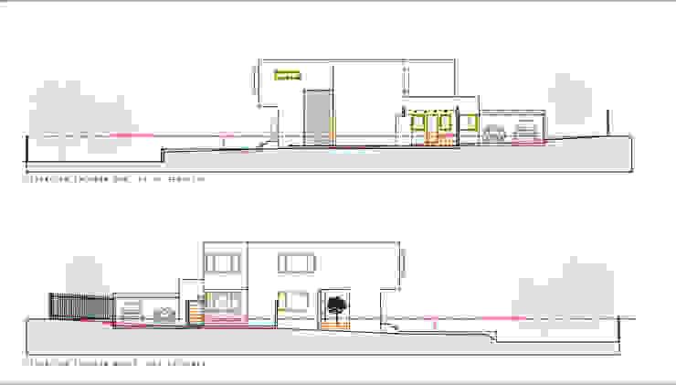 Elevaciones Fachadas longitudinales. Proyecto casa BL piedra roja - Chicureo. de MJO ArqDesign Moderno