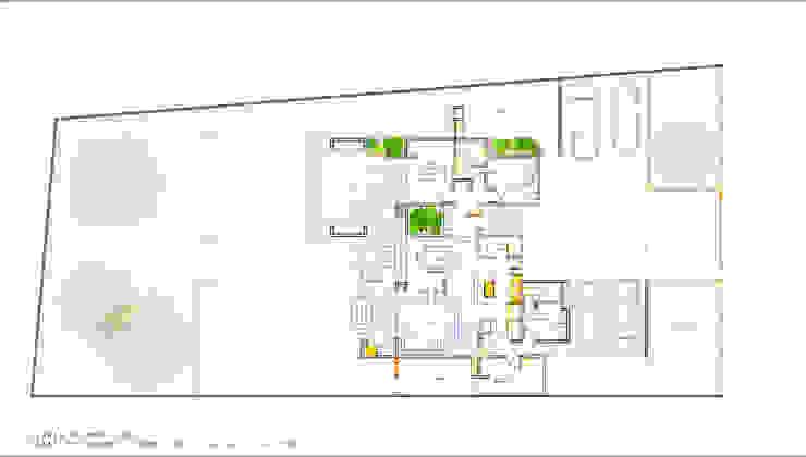 Planta Primer Piso. Proyecto casa BL piedra roja - Chicureo. de MJO ArqDesign Moderno