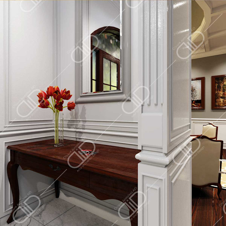Traditional interior Classic style corridor, hallway and stairs by Design Studio AiD Classic