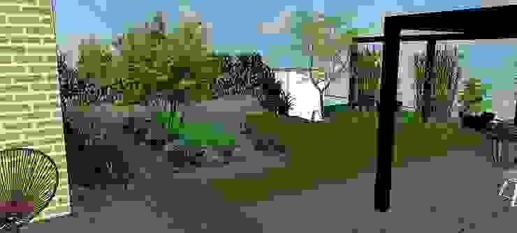 Moderne en strakke tuin aan het water met luxe Renson overkapping van Tuinontwerpbureau Geels