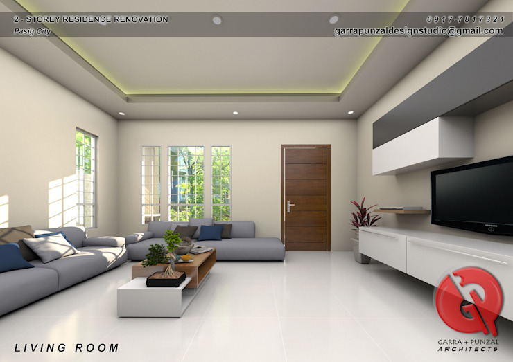 2-Storey Residence Renovation Garra + Punzal Architects Living room