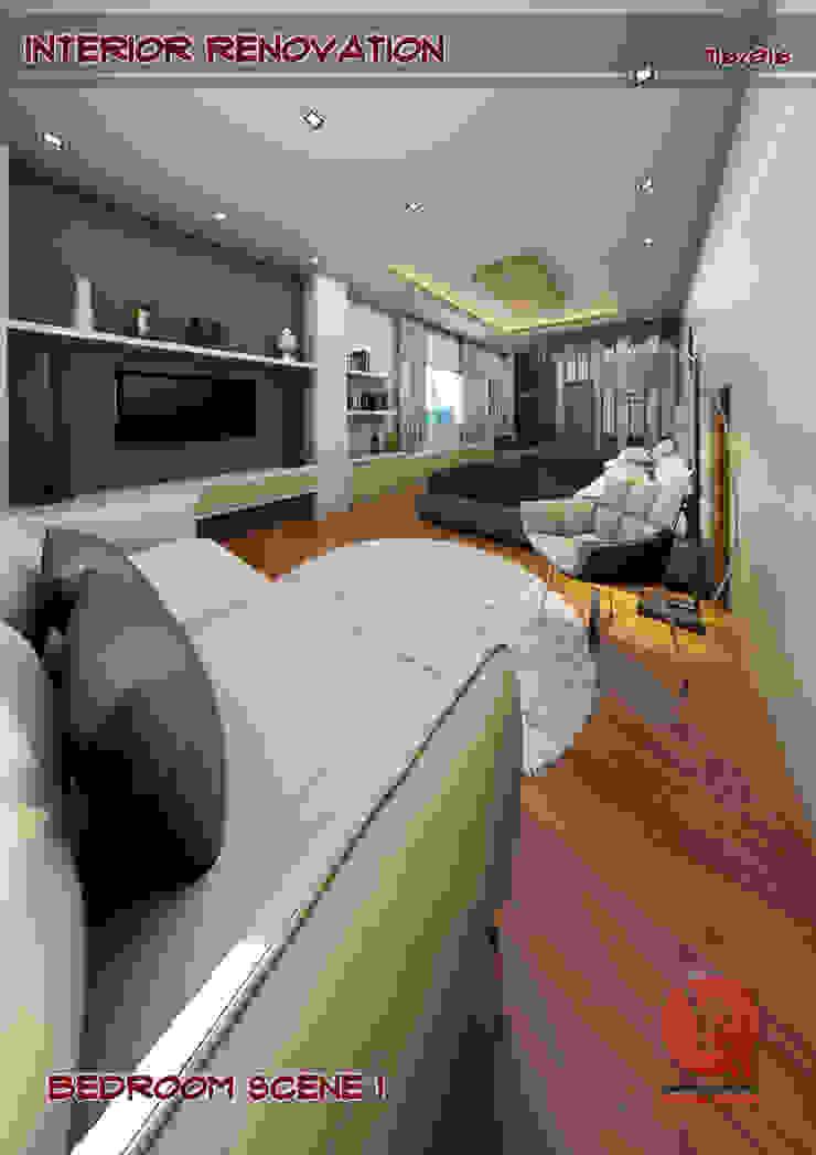 1-Bedroom Interior Design Modern style bedroom by Garra + Punzal Architects Modern