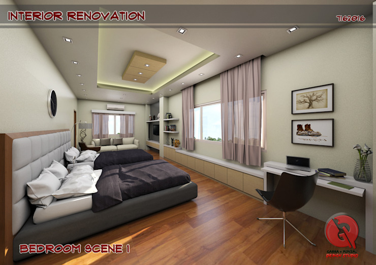 1-Bedroom Interior Design Modern style bedroom by Garra + Punzal Architects Modern