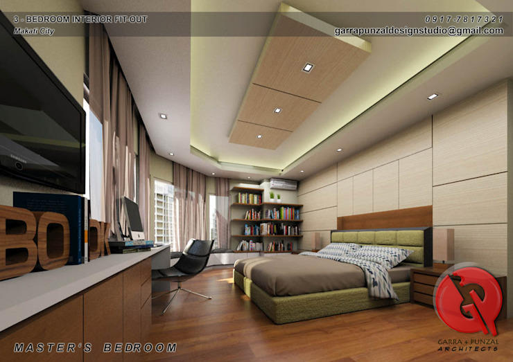 3-Bedroom Interior Design Asian style bedroom by Garra + Punzal Architects Asian
