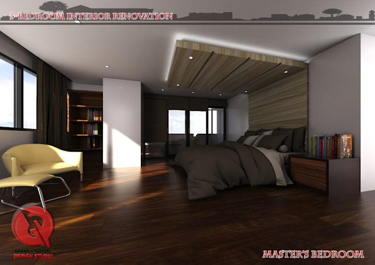 3-Bedroom Interior Design Modern style bedroom by Garra + Punzal Architects Modern