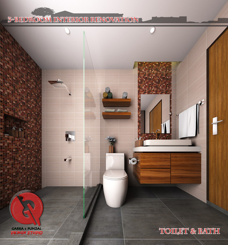 3-Bedroom Interior Design Modern bathroom by Garra + Punzal Architects Modern