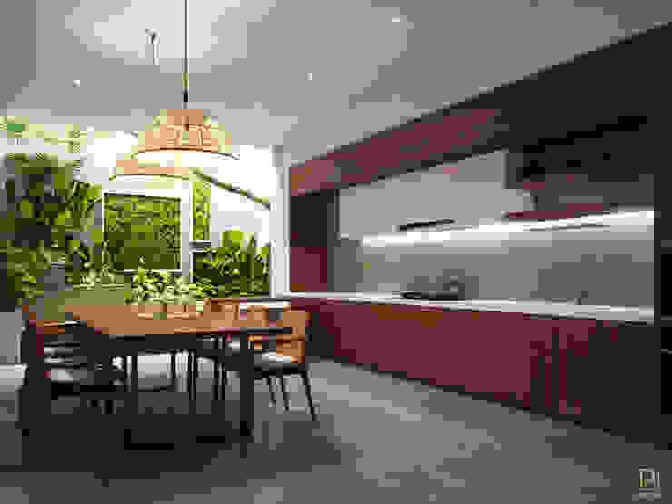 NHÀ PHỐ PLEIKU Nhà bếp phong cách hiện đại bởi P.A.U Design Hiện đại