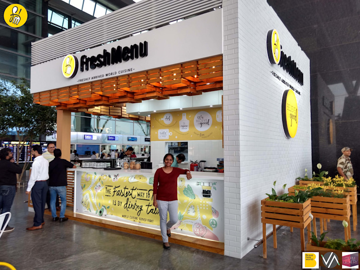 FreshMenu Restaurant in Bangalore International Airport Rustic style airports by Renovatio Interio Rustic Wood Wood effect