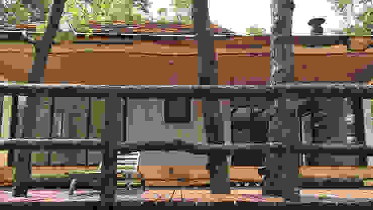 Cabaña de las Chimeneas de Luz Balcones y terrazas rústicos de 2712 / asociados Rústico