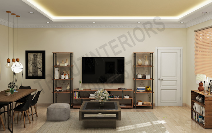 DLF Modern living room by Tribuz Interiors Pvt. Ltd. Modern
