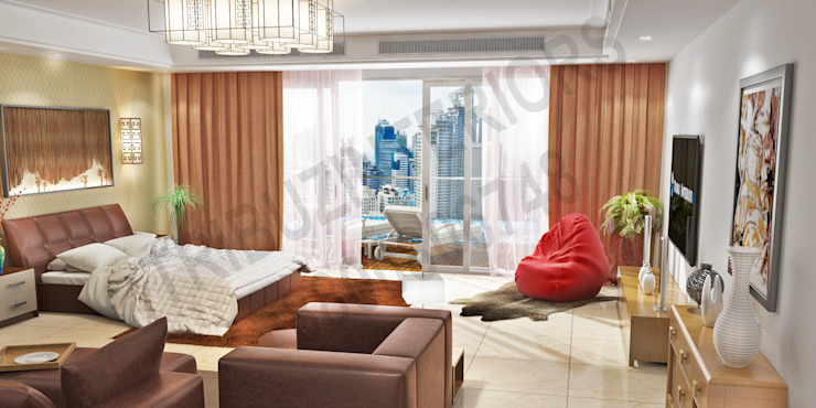 Caitriona Modern living room by Tribuz Interiors Pvt. Ltd. Modern