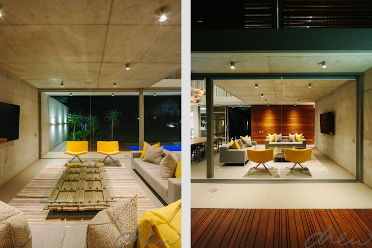 two floating boxes Modern living room by drew architects + interiors Modern