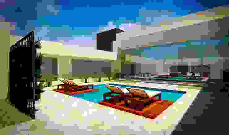 Área de lazer residencial por Fávero Arquitetura + Interiores Moderno