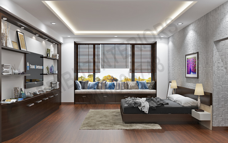 Modern style bedroom by Tribuz Interiors Pvt. Ltd. Modern