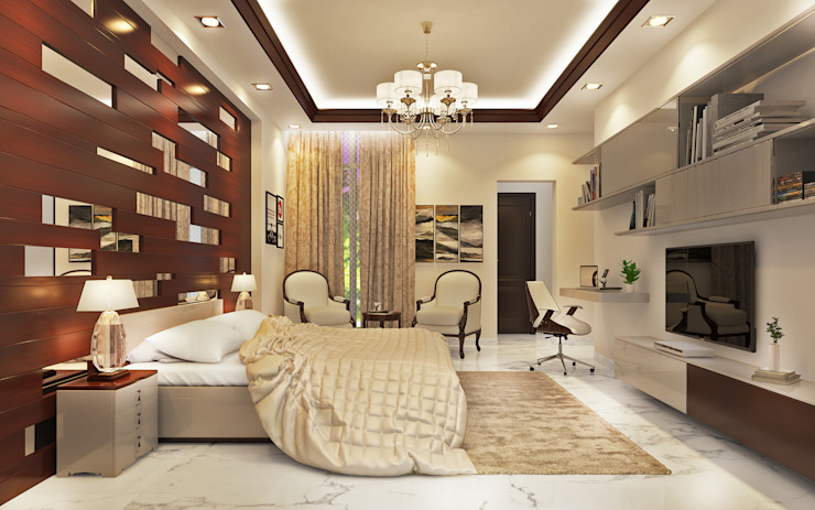 Essel Tower Modern style bedroom by Tribuz Interiors Pvt. Ltd. Modern