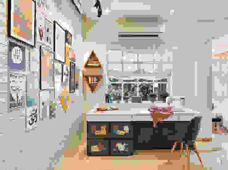Study Zone Modern style bedroom by SAGA Design Modern Bricks