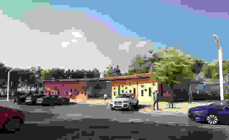 FACHADA PRINCIPAL Casas de estilo industrial de Arquitectura Positiva Industrial