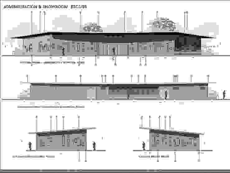 SEDE ADMINISTRATIVA DE PLANTA DE PROCESAMIENTO DE ARCILLAS - COLOMBIA Casas de estilo industrial de Arquitectura Positiva Industrial