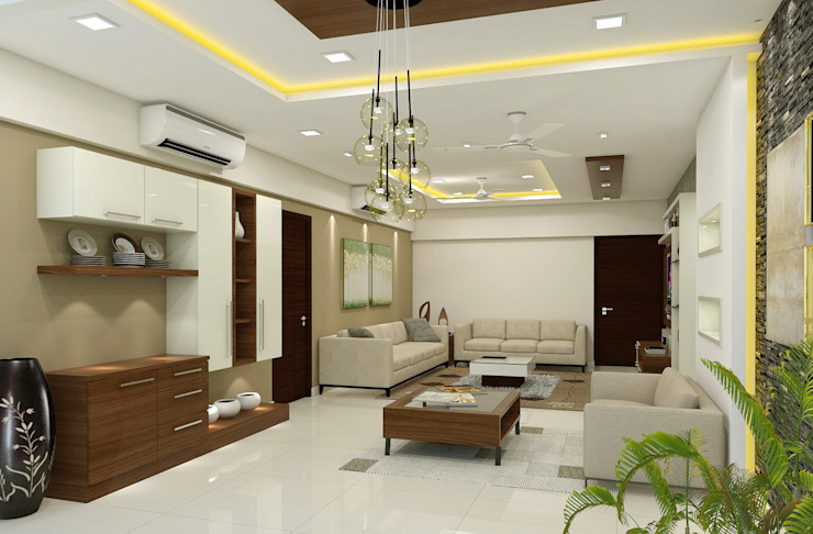3 BHK flat @ Lodha Meridian:  Dining room by shree lalitha consultants,Modern Plywood