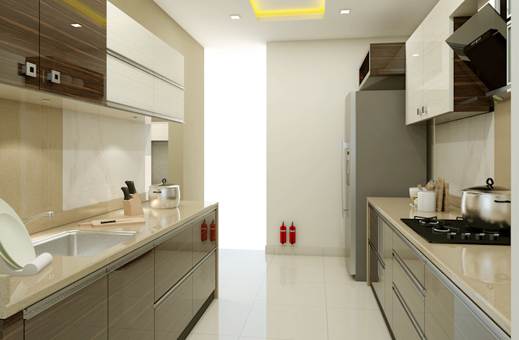 3 BHK flat @ Lodha Meridian:  Kitchen units by shree lalitha consultants,Modern Plywood