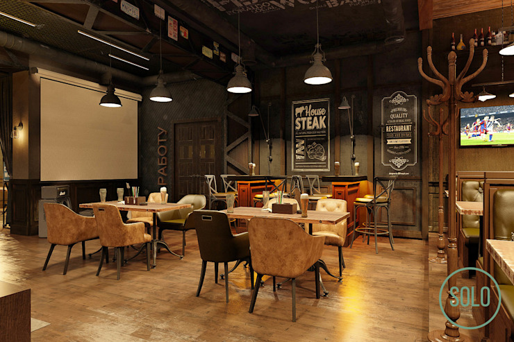 Solo Design Studio Bars & clubs Engineered Wood Black
