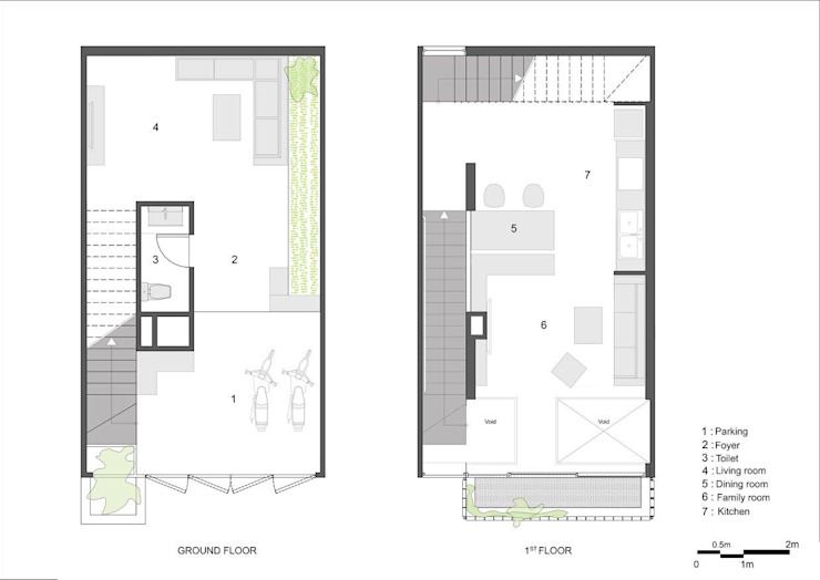 Ground & Mezzanine Floor Plan: Châu Á  by Studio8 Architecture & Urban Design, Châu Á