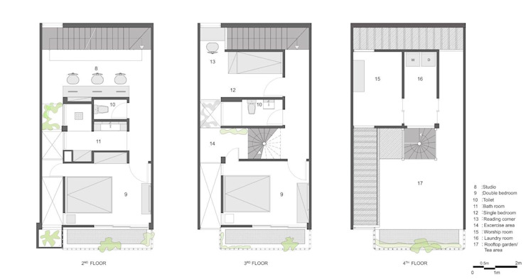 1st to 3rd FLoor Plan: Châu Á  by Studio8 Architecture & Urban Design, Châu Á