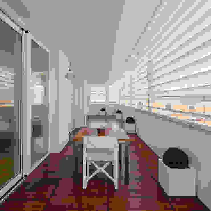 Modern balcony, veranda & terrace by DomECO Modern Solid Wood Multicolored