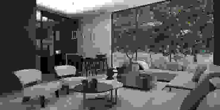 Casa AA Salones modernos de VOA Arquitectos Moderno Mármol