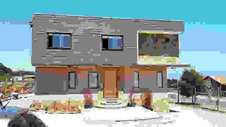 fachada frontal Nicolas Cerda Arquitecto Ventanas de PVC Plástico Marrón