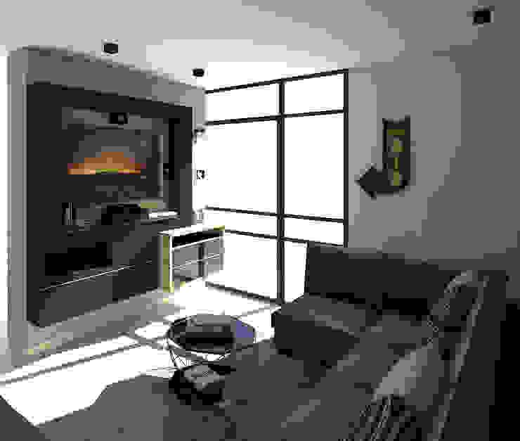 Sala multimediale in stile industriale di Savignano Design Industrial