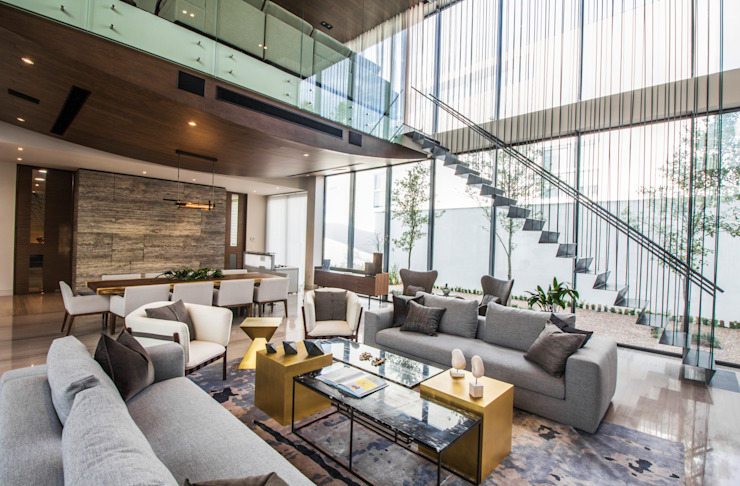 Living room by IAARQ (Ibarra Aragón Arquitectura SC), Modern
