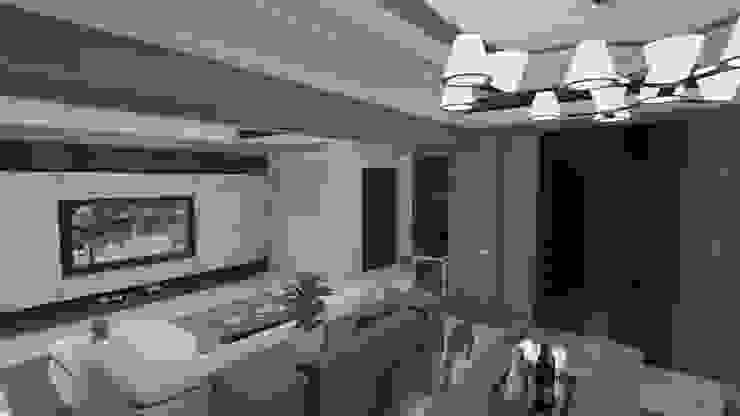 電視牆、衣物櫃、餐櫃、酒櫃及客廳空間示意圖 homify