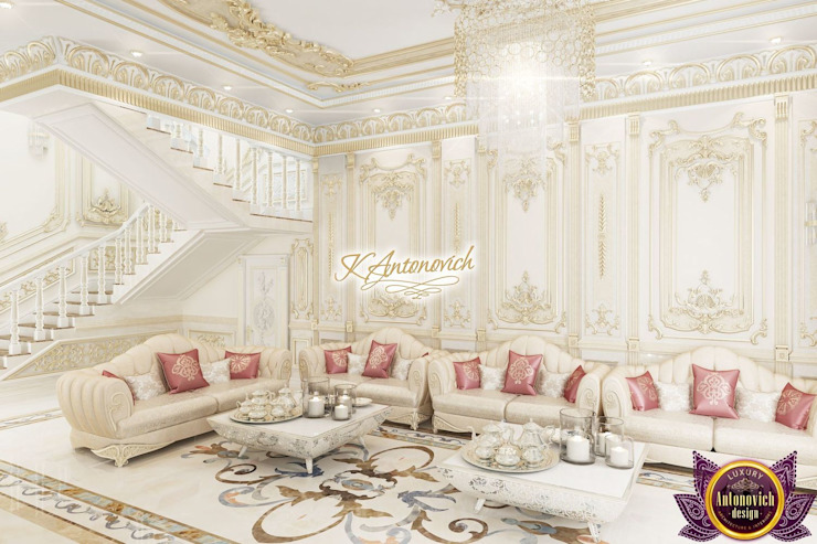 ​The brilliance of luxury in the interiors of Katrina Antonovich Classic style corridor, hallway and stairs by Luxury Antonovich Design Classic