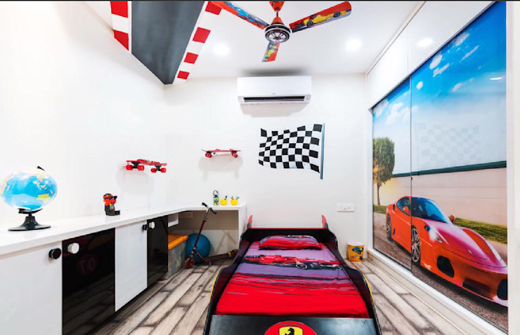 Car theme for kids room interiors by Rhythm And Emphasis Design Studio