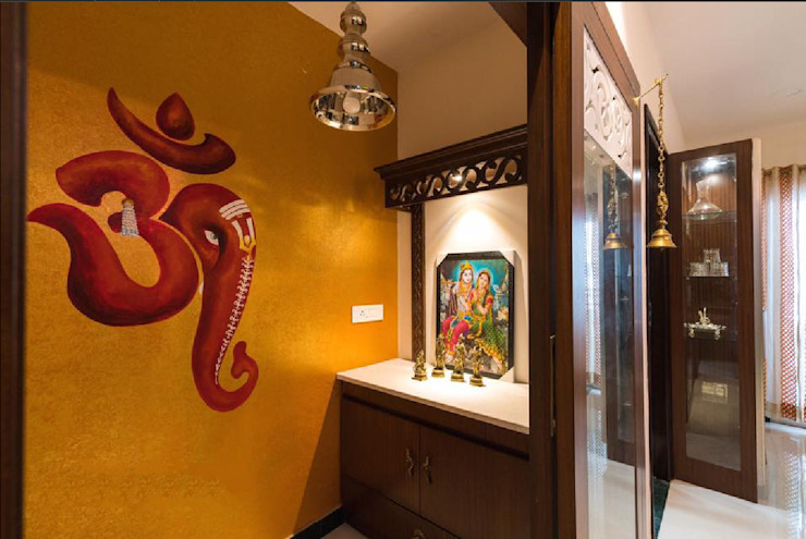 Pooja room interiors by Rhythm And Emphasis Design Studio