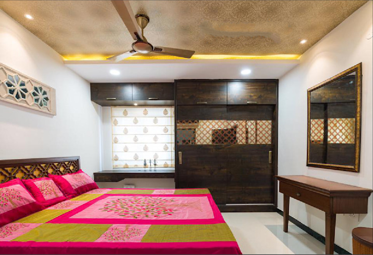 Master bedroom in contemporary style by Rhythm And Emphasis Design Studio